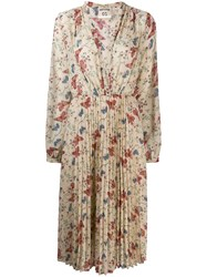 Semicouture Pleated Floral Dress Neutrals