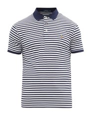 Polo Ralph Lauren Striped Logo Embroidered Cotton Shirt Navy White