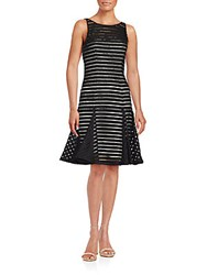 Aidan Mattox Beaded Striped Dress Black Ivory