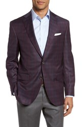 David Donahue Men's Big And Tall Connor Classic Fit Plaid Wool Sport Coat Burgundy