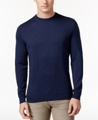 Club Room Men's Classic Fit Jersey Sweater Only At Macy's Navy Stone Heather
