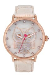 Betsey Johnson Women's Mother Of Pearl Owl Dial Croc Embossed Leather Strap Watch Beige