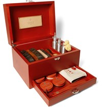 Turms Complete Shoe Care Kit With Wood Case Red