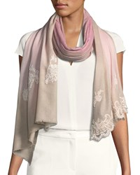 Bindya Wool Silk Lace Scarf Pink