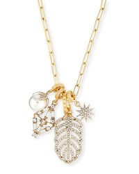 Lulu Frost Crystal Charm Link Necklace Gold