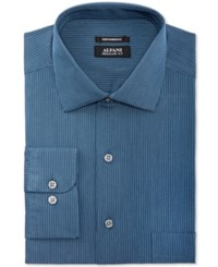 Alfani Black Men's Classic Fit Performance Navy Turquoise Micro Stripe Dress Shirt Only At Macy's