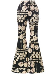Beaufille Cyrus Printed Flared Trouser Cotton Black