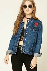 Forever 21 Tiger Embroidered Denim Jacket Dark Denim