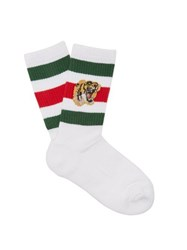 Gucci Stretch Cotton Blend Socks With Tiger White
