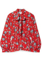 Vetements Pussy Bow Pleated Floral Print Crepe Blouse Red