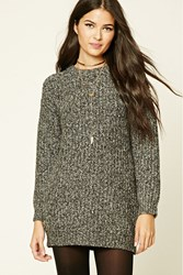 Forever 21 Chunky Marled Knit Sweater Charcoal Cream