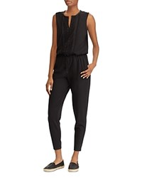 Ralph Lauren Embroidered Skinny Jumpsuit Black