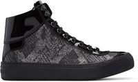 Jimmy Choo Silver And Black Lame Argyle High Top Sneakers
