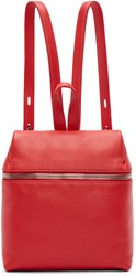 Kara Red Pebbled Leather Small Backpack