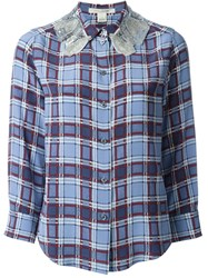 Marc Jacobs Embellished Collar Checked Shirt Blue