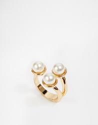 Paper Dolls Three Faux Pearl Open Ring Gold