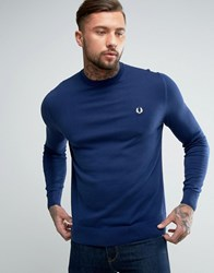 Fred Perry Crew Neck Cotton Jumper In Blue French Navy