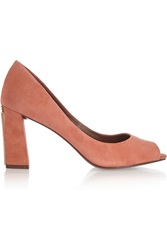 Tory Burch Georgiana Suede Open Toe Pumps Pink
