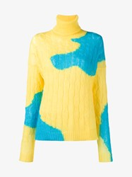 Delpozo Mohair Blend Bi Colour Cable Knit Sweater Blue Yellow