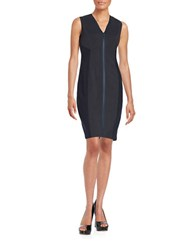 T Tahari Knit Zip Front Sheath Dress Navy