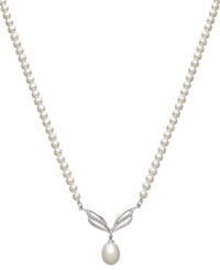 Macy's 14K White Gold Necklace Diamond 1 4 Ct. T.W. And Cultured Freshwater Pearl 9Mm Necklace Black