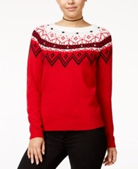 Hooked Up By Iot Juniors' Rhinestone Fair Isle Sweater Christmas Red Cream