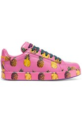 Dolce And Gabbana Printed Leather Sneakers Pink