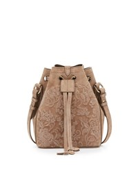 Ralph Lauren Small Embroidered Suede Drawstring Bucket Bag Taupe