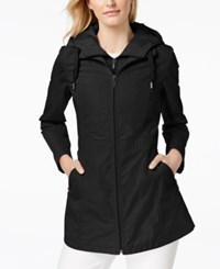 Laundry By Shelli Segal Cinched Waist Hooded Anorak With Bib Black