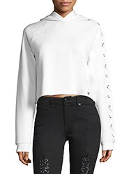 True Religion Lace Up Sleeve Cropped Hoodie Black