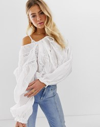 Free People Preople Maria Maria Balloon Sleeve Blouse With Lace Inserts White