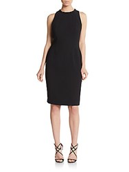 Carmen Marc Valvo Cutout Back Crepe Sheath Dress Black