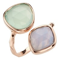 John Lewis Gemstones Aqua Chalcedony And Lace Agate Ring Green Pale Blue