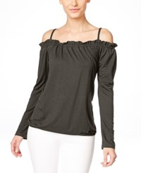 Inc International Concepts Petite Off The Shoulder Ruffled Peasant Blouse Only At Macy's Grey Knight