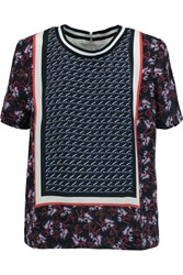 Mother Of Pearl Paget Printed Silk Twill Top Blue