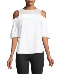 Cynthia Steffe Cold Shoulder Chiffon Yoke Blouse White
