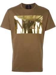 N 21 No21 Logo Print T Shirt Brown
