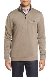 Ted Baker Men's Big And Tall London Funnel Neck Quarter Zip Pullover Brown