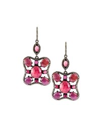 Bavna Composite Ruby Sapphire And Pave Diamond Drop Earrings