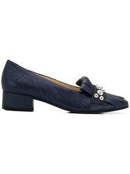 Hogl Studded Fringe Trim Loafers Blue