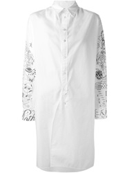 Zucca Tattoo Print Shirt Dress White