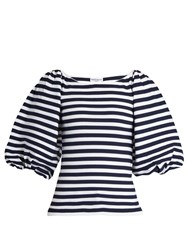 Sonia Rykiel Balloon Sleeved Striped Top Blue Stripe
