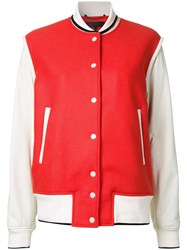 Rag And Bone Contrast Bomber Jacket Red