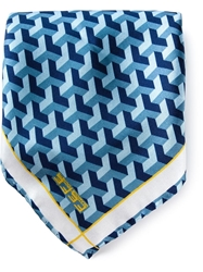 Fe Fe Fefe Geometric Print Pocket Square Handkerchief Blue