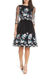 Chi Chi London Baroque Embroidered Flower Tea Dress Black
