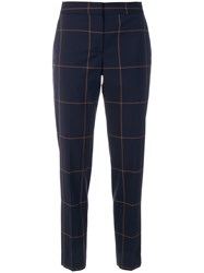 Paul Smith Checked Slim Fit Trousers Wool Blue
