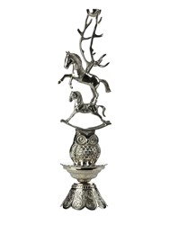 Pols Potten Horse Totem Candle Holder Silver