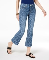 Michael Kors Printed Flare Leg Jeans Regular And Petite True Navy Light Chambray