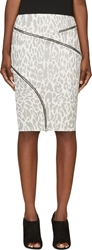 Jay Ahr White And Black Ziparound Leopard Pencil Skirt
