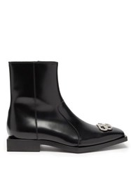 Balenciaga Logo Hardware Square Sole Leather Boots Black Silver